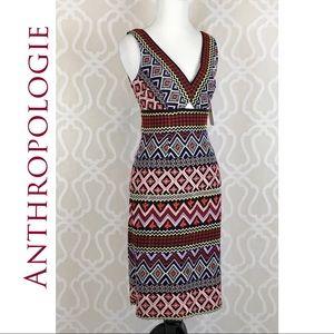 Anthropologie Geo-Embroidered Column Dress